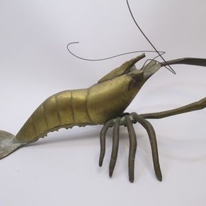 VTG Brass Shrimp Wall hang figure nautical decor